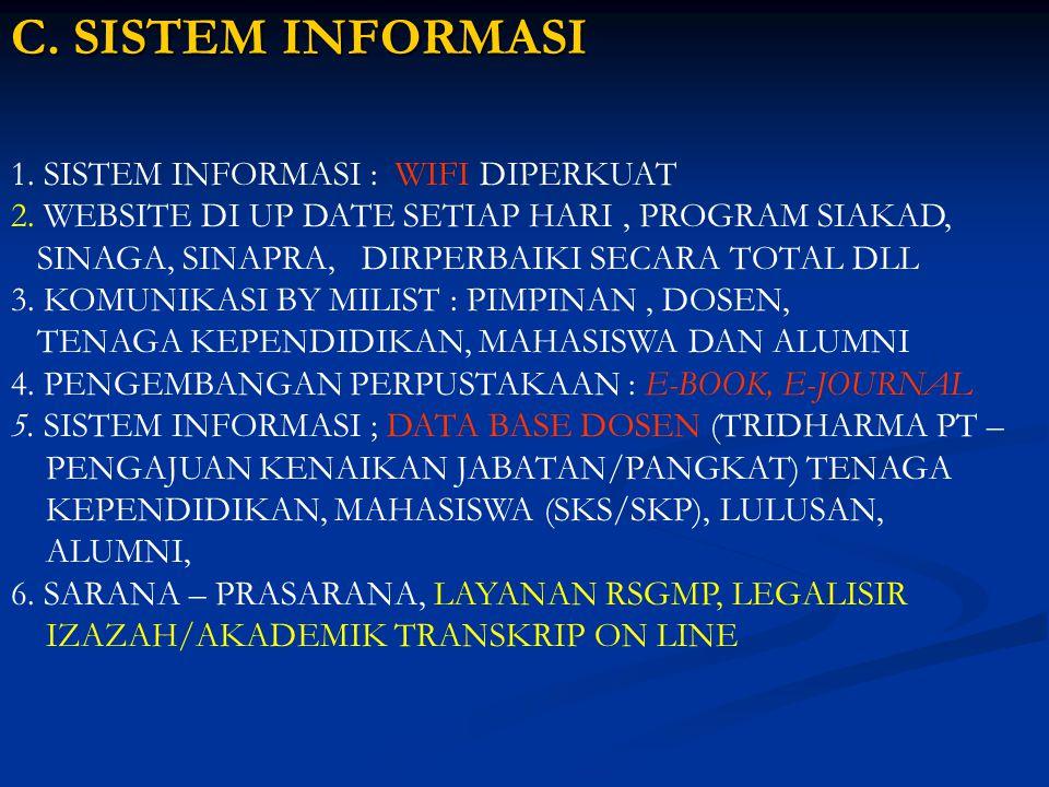 C. SISTEM INFORMASI 1. SISTEM INFORMASI : WIFI DIPERKUAT 2. WEBSITE DI UP DATE SETIAP HARI, PROGRAM SIAKAD, SINAGA, SINAPRA, DIRPERBAIKI SECARA TOTAL
