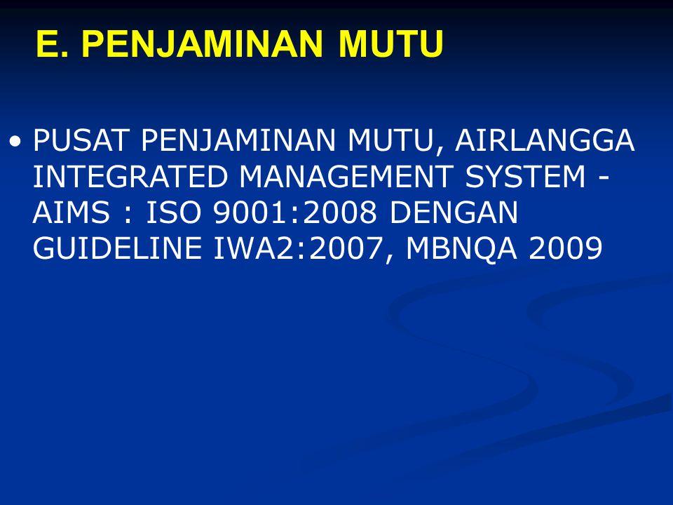 PUSAT PENJAMINAN MUTU, AIRLANGGA INTEGRATED MANAGEMENT SYSTEM - AIMS : ISO 9001:2008 DENGAN GUIDELINE IWA2:2007, MBNQA 2009 E. PENJAMINAN MUTU