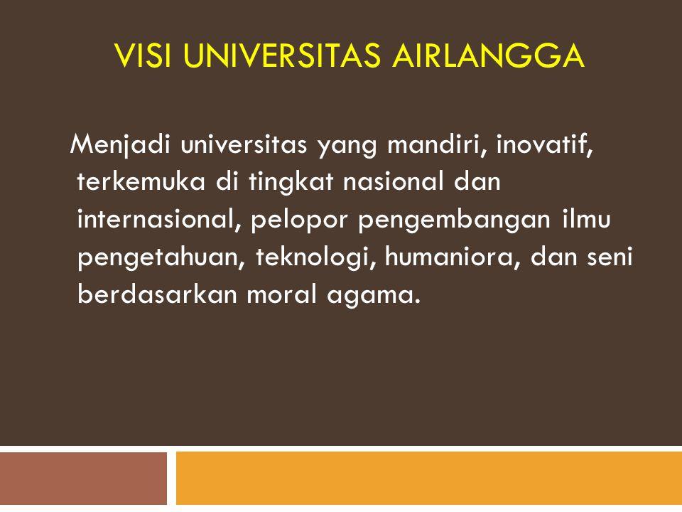 VISI UNIVERSITAS AIRLANGGA Menjadi universitas yang mandiri, inovatif, terkemuka di tingkat nasional dan internasional, pelopor pengembangan ilmu peng