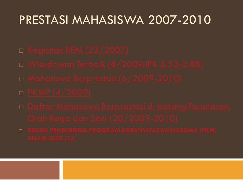 PRESTASI MAHASISWA 2007-2010  Kegiatan BEM (23/2007) Kegiatan BEM (23/2007)  Wisudawan Terbaik (8/2009:IPK 3.53-3.88) Wisudawan Terbaik (8/2009:IPK