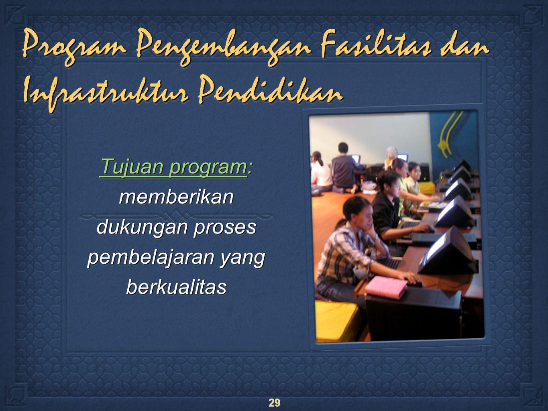29 Program Pengembangan Fasilitas dan Infrastruktur Pendidikan Tujuan program: memberikan dukungan proses pembelajaran yang berkualitas