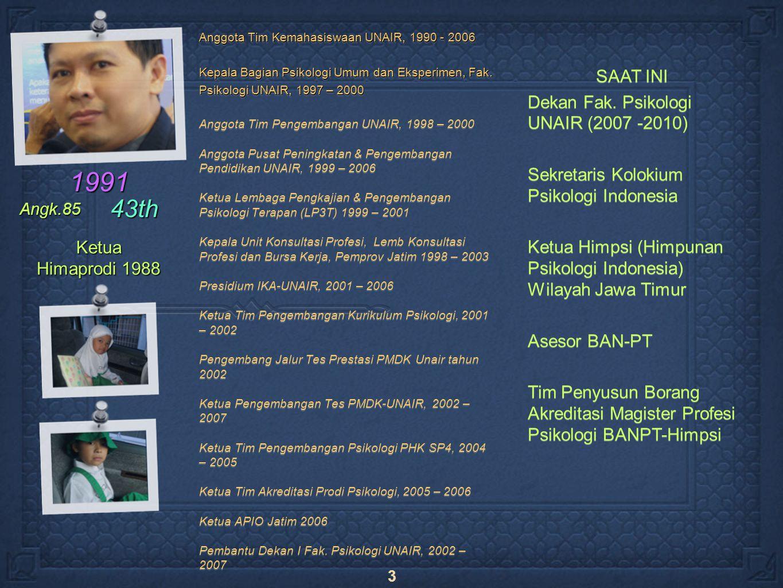 3 Anggota Tim Kemahasiswaan UNAIR, 1990 - 2006 Kepala Bagian Psikologi Umum dan Eksperimen, Fak.