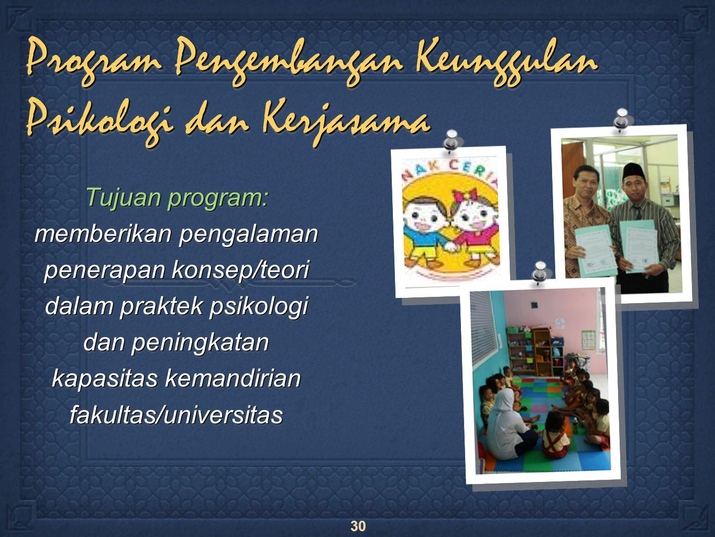 30 Program Pengembangan Keunggulan Psikologi dan Kerjasama Tujuan program: memberikan pengalaman penerapan konsep/teori dalam praktek psikologi dan peningkatan kapasitas kemandirian fakultas/universitas