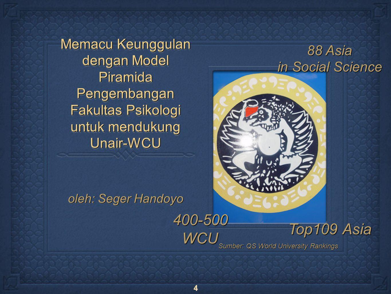 4 Memacu Keunggulan dengan Model Piramida Pengembangan Fakultas Psikologi untuk mendukung Unair-WCU oleh: Seger Handoyo 400-500WCU Top109 Asia 88 Asia in Social Science Sumber: QS World University Rankings