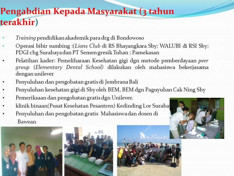 Pengabdian Kepada Masyarakat (3 tahun terakhir) Training pendidikan akademik para drg di Bondowoso Operasi bibir sumbing :(Lions Club di RS Bhayangkar