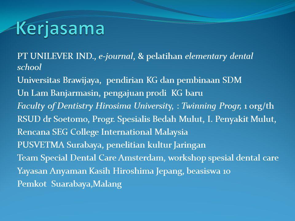 PT UNILEVER IND., e-journal, & pelatihan elementary dental school Universitas Brawijaya, pendirian KG dan pembinaan SDM Un Lam Banjarmasin, pengajuan