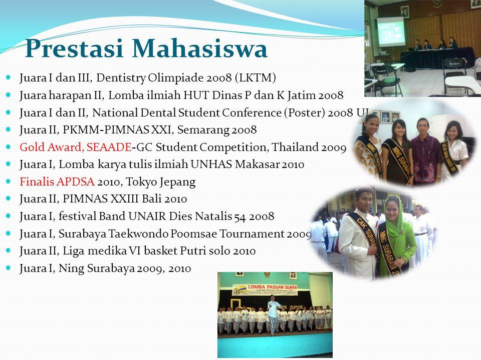 Prestasi Mahasiswa Juara I dan III, Dentistry Olimpiade 2008 (LKTM) Juara harapan II, Lomba ilmiah HUT Dinas P dan K Jatim 2008 Juara I dan II, Nation