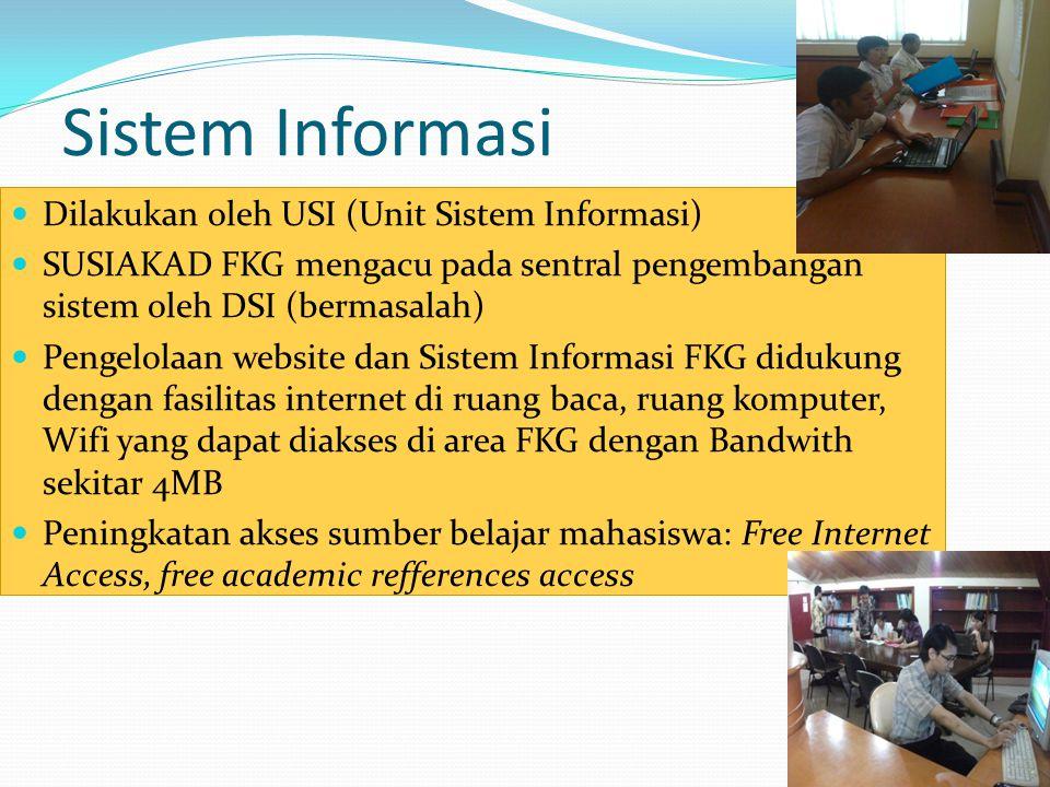 Sistem Informasi Dilakukan oleh USI (Unit Sistem Informasi) SUSIAKAD FKG mengacu pada sentral pengembangan sistem oleh DSI (bermasalah) Pengelolaan we