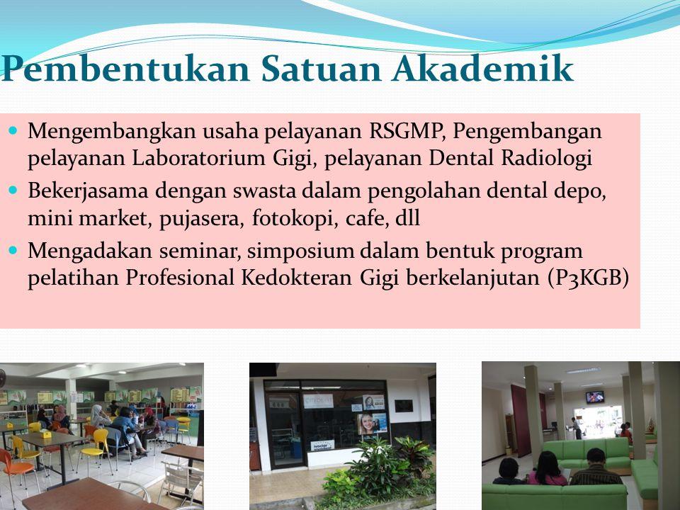 Pembentukan Satuan Akademik Mengembangkan usaha pelayanan RSGMP, Pengembangan pelayanan Laboratorium Gigi, pelayanan Dental Radiologi Bekerjasama deng