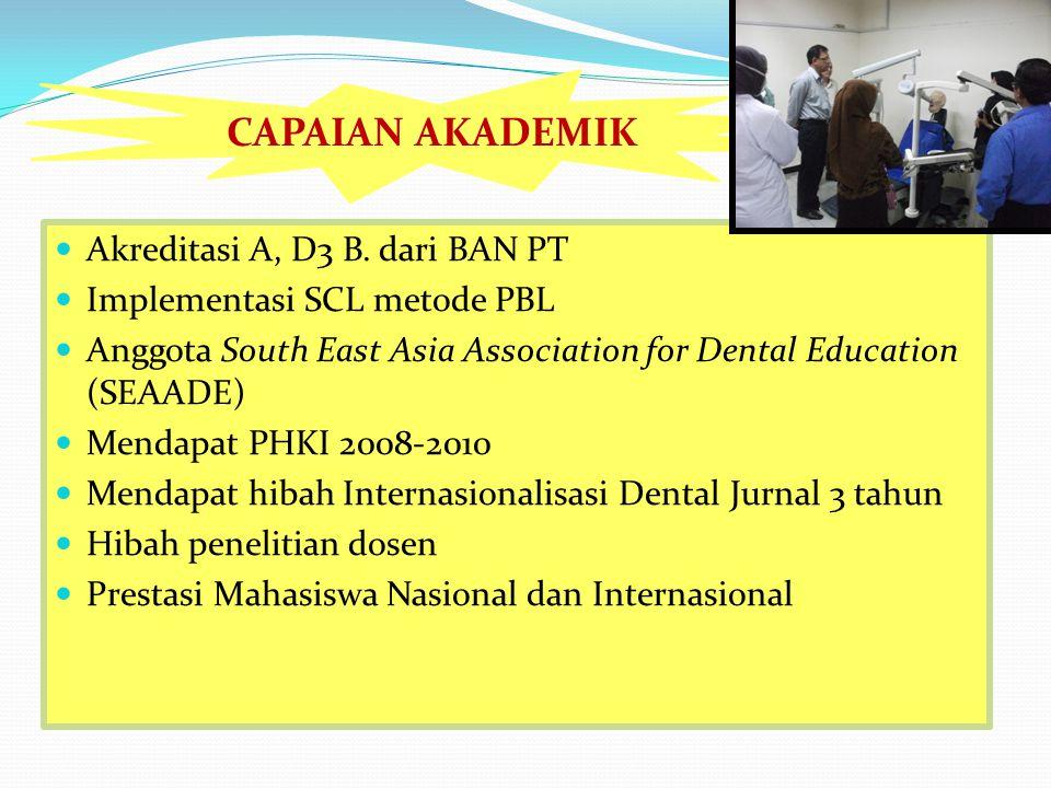 Akreditasi A, D3 B. dari BAN PT Implementasi SCL metode PBL Anggota South East Asia Association for Dental Education (SEAADE) Mendapat PHKI 2008-2010