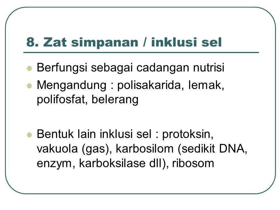 8. Zat simpanan / inklusi sel Berfungsi sebagai cadangan nutrisi Mengandung : polisakarida, lemak, polifosfat, belerang Bentuk lain inklusi sel : prot
