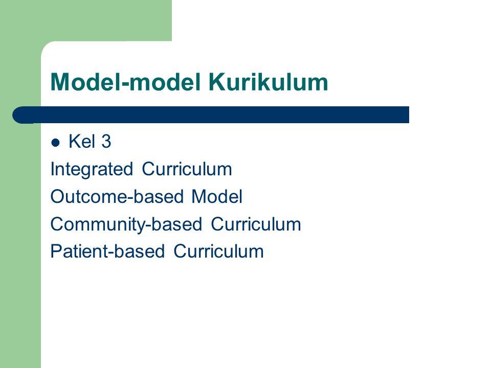 Model-model Kurikulum Kel 3 Integrated Curriculum Outcome-based Model Community-based Curriculum Patient-based Curriculum