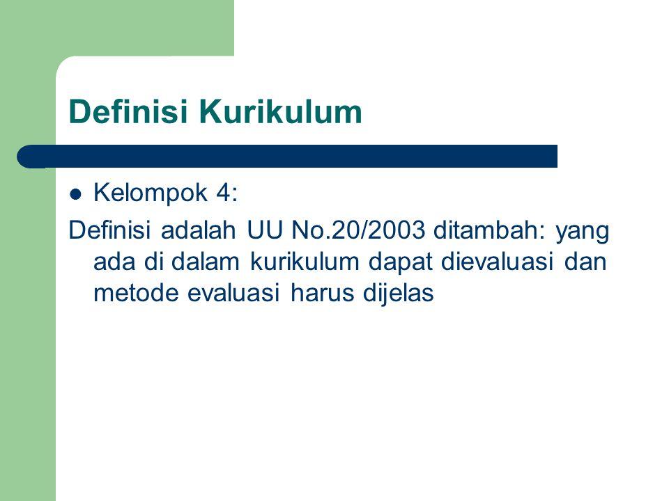 Definisi Kurikulum Kelompok 4: Definisi adalah UU No.20/2003 ditambah: yang ada di dalam kurikulum dapat dievaluasi dan metode evaluasi harus dijelas