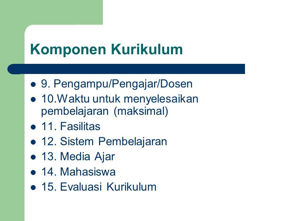 Komponen Kurikulum 9. Pengampu/Pengajar/Dosen 10.Waktu untuk menyelesaikan pembelajaran (maksimal) 11. Fasilitas 12. Sistem Pembelajaran 13. Media Aja