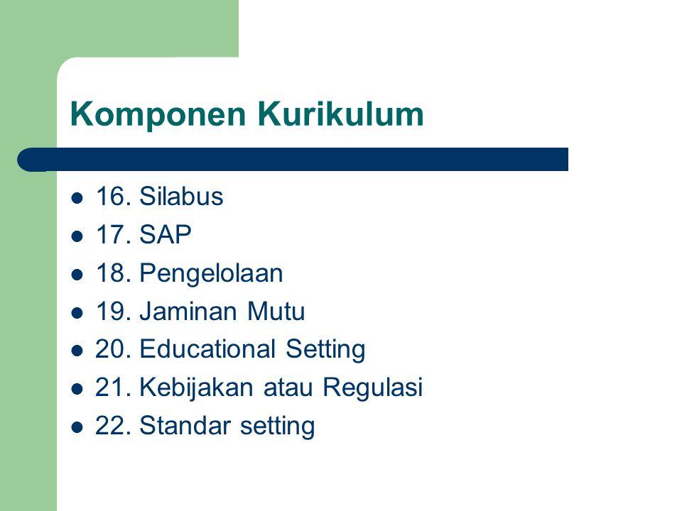 Komponen Kurikulum 16. Silabus 17. SAP 18. Pengelolaan 19. Jaminan Mutu 20. Educational Setting 21. Kebijakan atau Regulasi 22. Standar setting