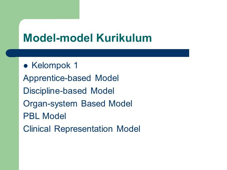 Model-model Kurikulum Kelompok 1 Apprentice-based Model Discipline-based Model Organ-system Based Model PBL Model Clinical Representation Model