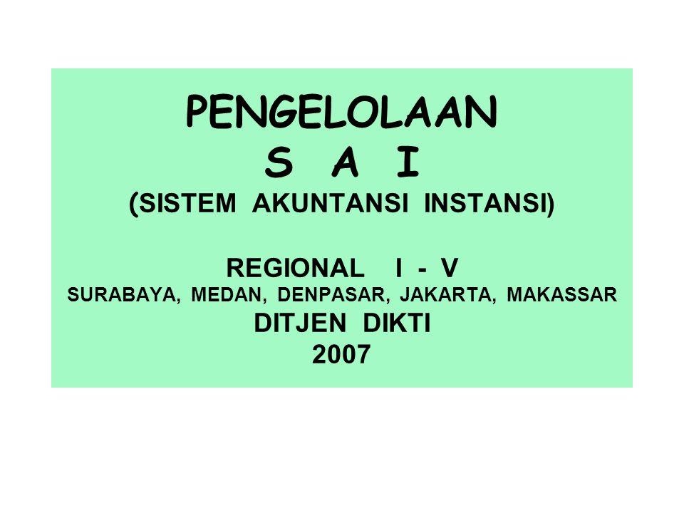 PENGELOLAAN S A I ( SISTEM AKUNTANSI INSTANSI) REGIONAL I - V SURABAYA, MEDAN, DENPASAR, JAKARTA, MAKASSAR DITJEN DIKTI 2007