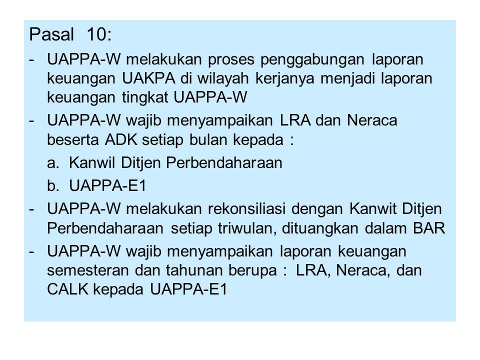 Pasal 10: -UAPPA-W melakukan proses penggabungan laporan keuangan UAKPA di wilayah kerjanya menjadi laporan keuangan tingkat UAPPA-W -UAPPA-W wajib me