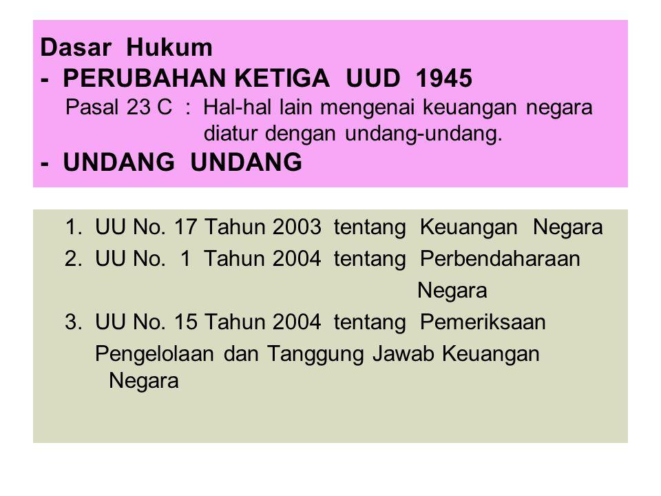 Dasar Hukum - PERUBAHAN KETIGA UUD 1945 Pasal 23 C : Hal-hal lain mengenai keuangan negara diatur dengan undang-undang. - UNDANG UNDANG 1. UU No. 17 T