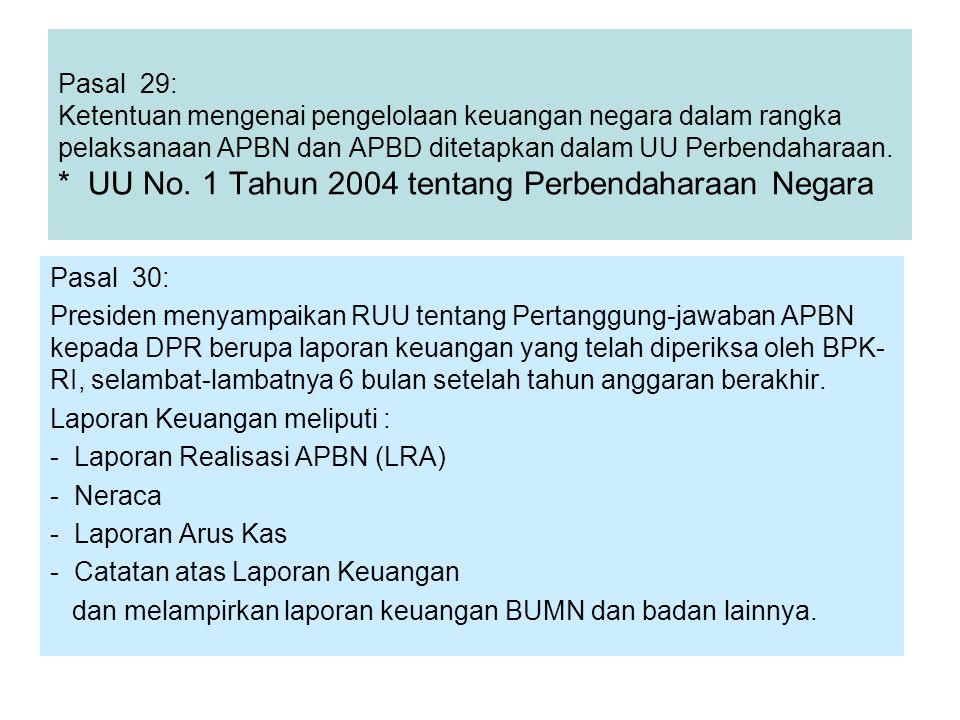 Pasal 29: Ketentuan mengenai pengelolaan keuangan negara dalam rangka pelaksanaan APBN dan APBD ditetapkan dalam UU Perbendaharaan. * UU No. 1 Tahun 2