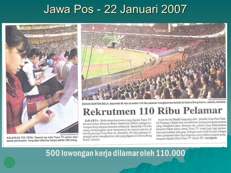 Jawa Pos - 22 Januari 2007 500 lowongan kerja dilamar oleh 110.000