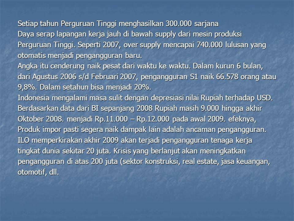 740.206 penganggur lulusan Perguruan Tinggi (Feb 2007) (Sumber berita: Kompas, tanggal 6 Februari 2008 halaman 12)