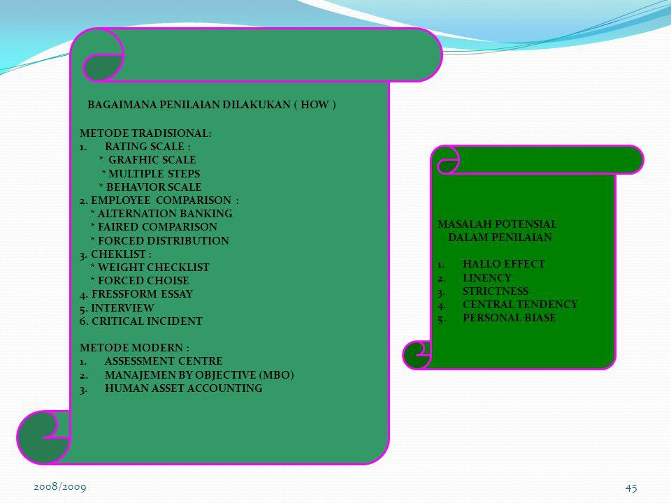 2008/200944 BILAMANA PENILAIAN DILAKUKAN ( WHEN ) FORMAL : 1.SETIAP TAHUN 2.SETIAP SEMESTER 3.SETIAP KUARTAL INFORMAL : 1.SETIAP MINGGU 2.SETIAP HARI 3.SECARA TERUS MENERUS DIMANA PENILAIAN DILAKUKAN (WHERE ) ON THE JOB APPRAISAL 1.