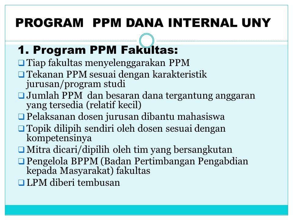 PROGRAM PPM DANA INTERNAL UNY 1. Program PPM Fakultas:  Tiap fakultas menyelenggarakan PPM  Tekanan PPM sesuai dengan karakteristik jurusan/program