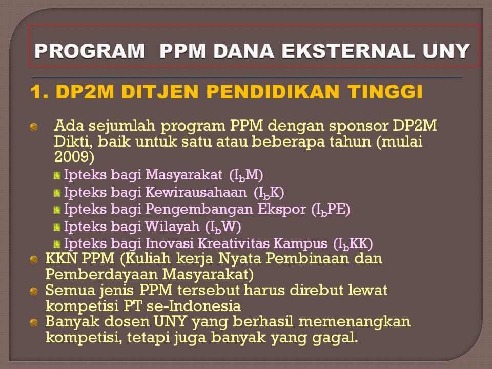 1. DP2M DITJEN PENDIDIKAN TINGGI Ada sejumlah program PPM dengan sponsor DP2M Dikti, baik untuk satu atau beberapa tahun (mulai 2009) Ipteks bagi Masy
