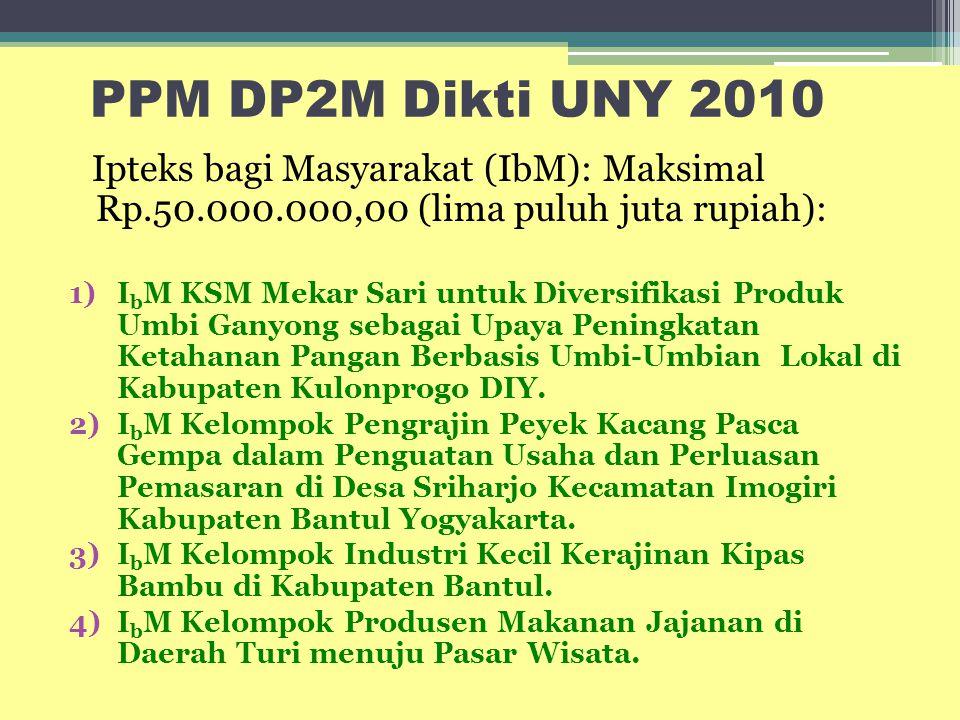 PPM DP2M Dikti UNY 2010 Ipteks bagi Masyarakat (IbM): Maksimal Rp.50.000.000,00 (lima puluh juta rupiah): 1)I b M KSM Mekar Sari untuk Diversifikasi P