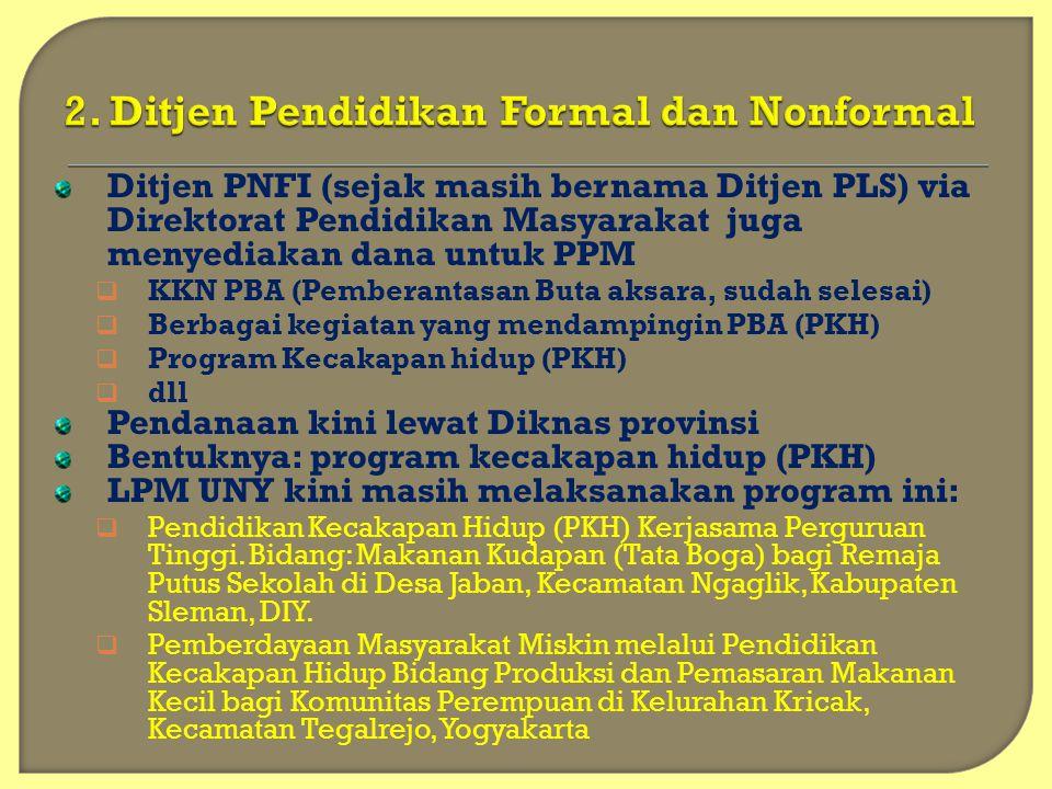 Ditjen PNFI (sejak masih bernama Ditjen PLS) via Direktorat Pendidikan Masyarakat juga menyediakan dana untuk PPM  KKN PBA (Pemberantasan Buta aksara