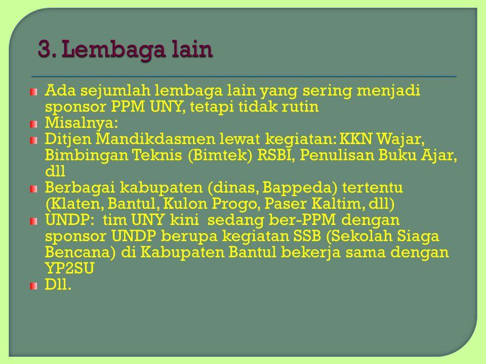Ada sejumlah lembaga lain yang sering menjadi sponsor PPM UNY, tetapi tidak rutin Misalnya: Ditjen Mandikdasmen lewat kegiatan: KKN Wajar, Bimbingan T