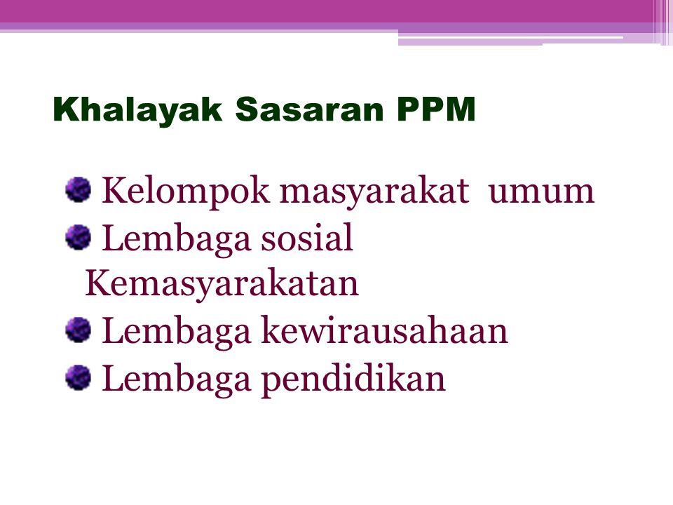 Khalayak Sasaran PPM Kelompok masyarakat umum Lembaga sosial Kemasyarakatan Lembaga kewirausahaan Lembaga pendidikan 6