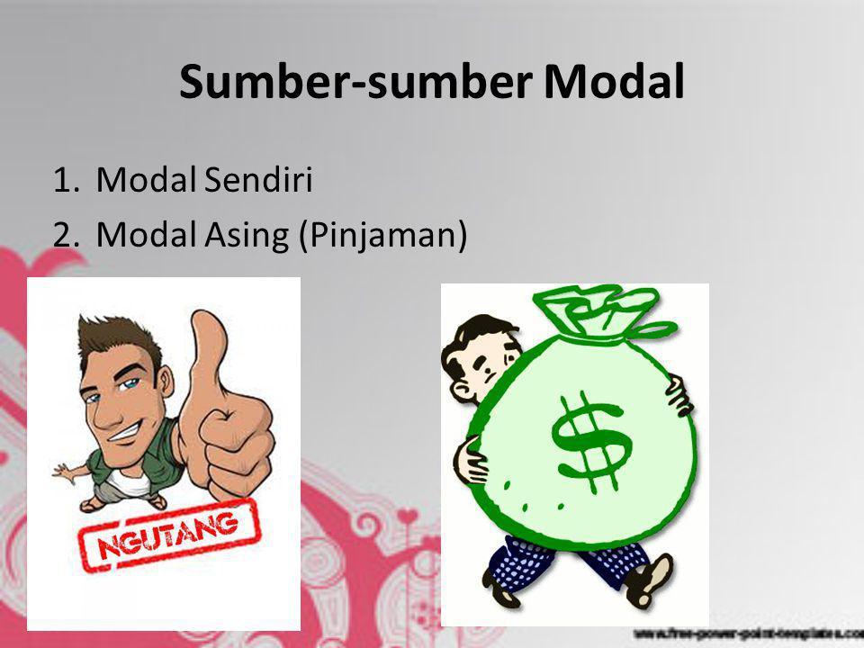 Sumber-sumber Modal 1.Modal Sendiri 2.Modal Asing (Pinjaman)