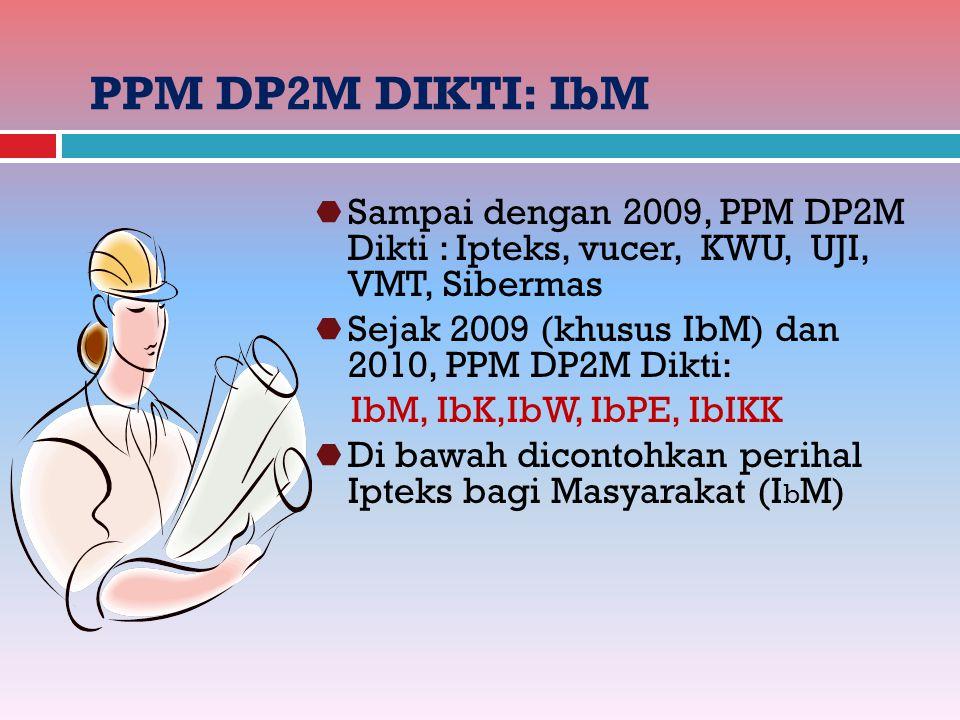 PPM DP2M DIKTI: IbM  Sampai dengan 2009, PPM DP2M Dikti : Ipteks, vucer, KWU, UJI, VMT, Sibermas  Sejak 2009 (khusus IbM) dan 2010, PPM DP2M Dikti: