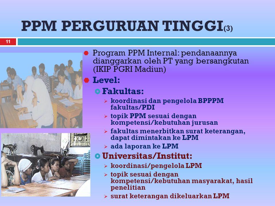 PPM PERGURUAN TINGGI (3)  Program PPM Internal: pendanaannya dianggarkan oleh PT yang bersangkutan (IKIP PGRI Madiun)  Level:  Fakultas:  koordina