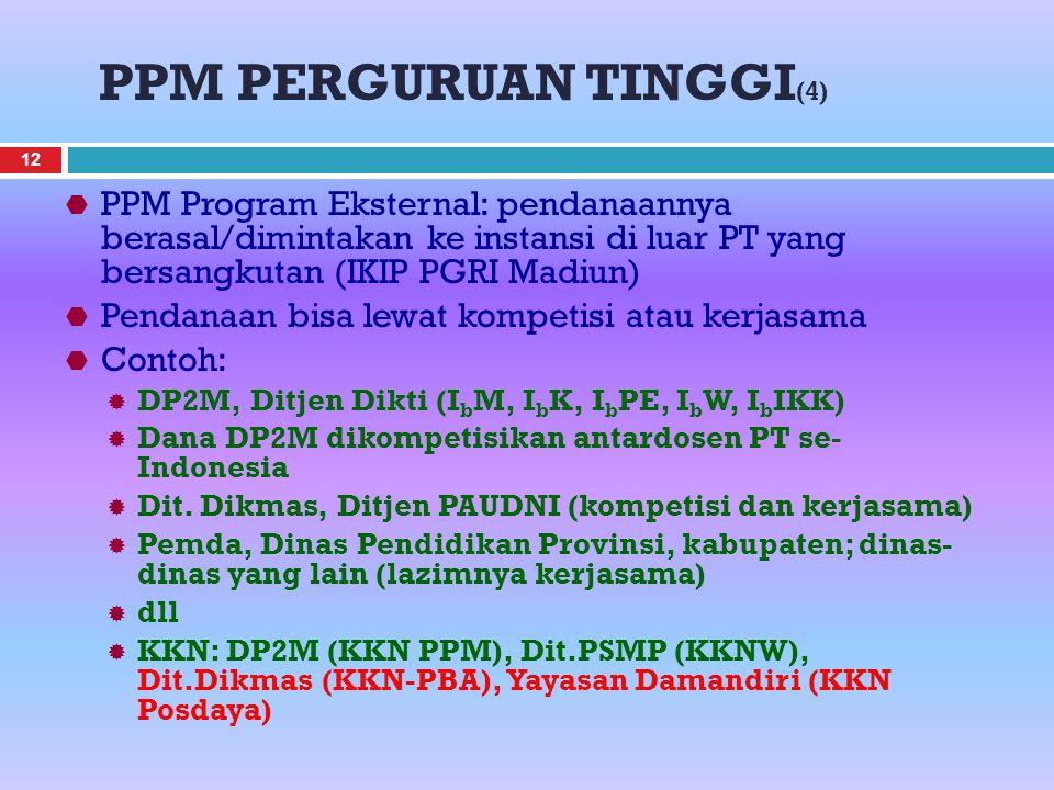 PPM PERGURUAN TINGGI (4)  PPM Program Eksternal: pendanaannya berasal/dimintakan ke instansi di luar PT yang bersangkutan (IKIP PGRI Madiun)  Pendanaan bisa lewat kompetisi atau kerjasama  Contoh:  DP2M, Ditjen Dikti (I b M, I b K, I b PE, I b W, I b IKK)  Dana DP2M dikompetisikan antardosen PT se- Indonesia  Dit.