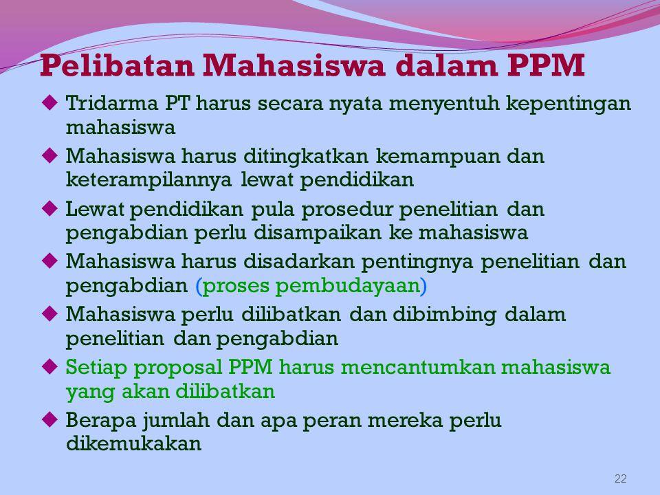 Pelibatan Mahasiswa dalam PPM  Tridarma PT harus secara nyata menyentuh kepentingan mahasiswa  Mahasiswa harus ditingkatkan kemampuan dan keterampil
