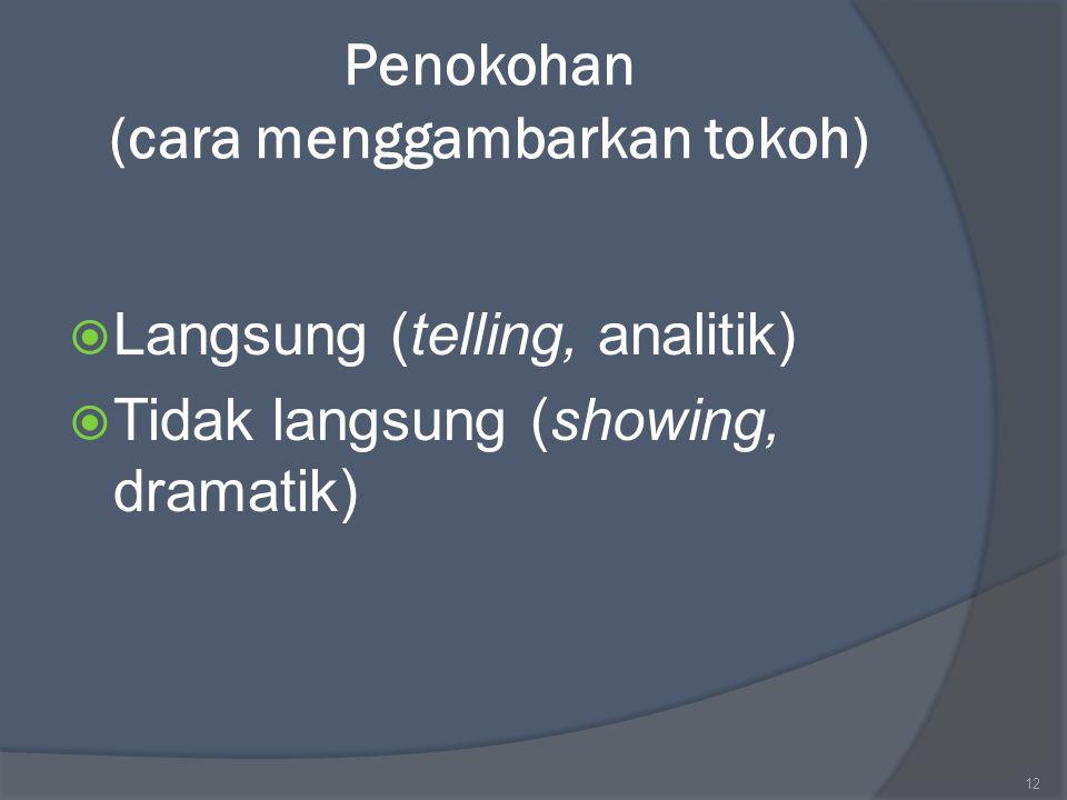 Penokohan (cara menggambarkan tokoh)  Langsung (telling, analitik)  Tidak langsung (showing, dramatik) 12