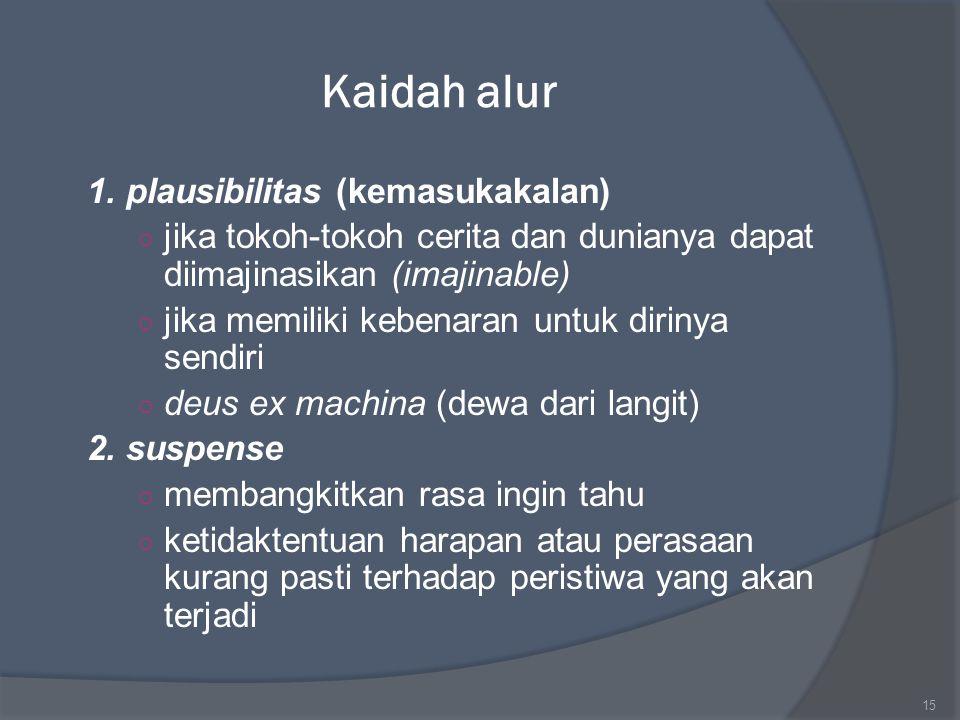 Kaidah alur 1. plausibilitas (kemasukakalan) ○ jika tokoh-tokoh cerita dan dunianya dapat diimajinasikan (imajinable) ○ jika memiliki kebenaran untuk