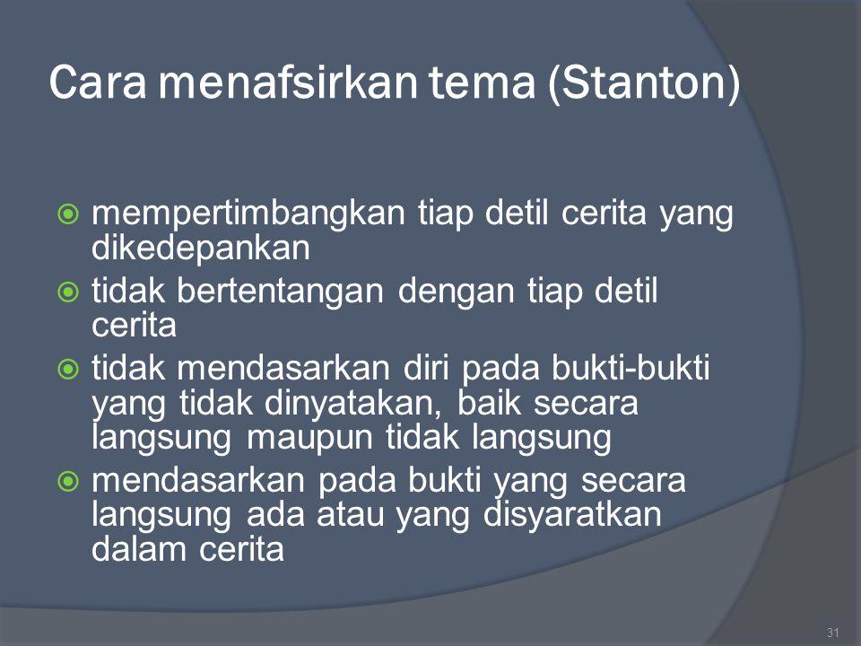 Cara menafsirkan tema (Stanton)  mempertimbangkan tiap detil cerita yang dikedepankan  tidak bertentangan dengan tiap detil cerita  tidak mendasark