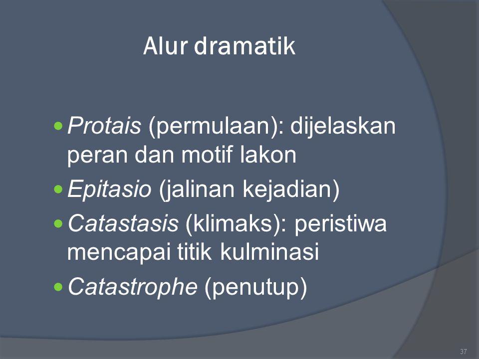 Alur dramatik Protais (permulaan): dijelaskan peran dan motif lakon Epitasio (jalinan kejadian) Catastasis (klimaks): peristiwa mencapai titik kulmina