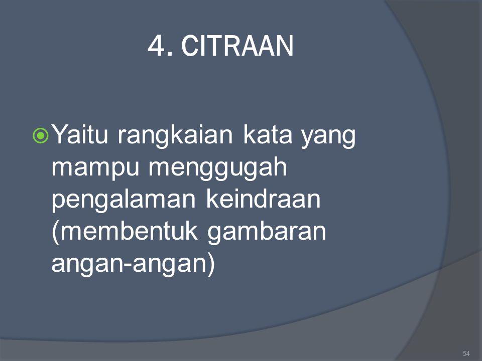 4. CITRAAN  Yaitu rangkaian kata yang mampu menggugah pengalaman keindraan (membentuk gambaran angan-angan) 54