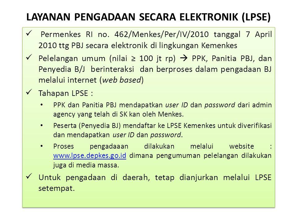LAYANAN PENGADAAN SECARA ELEKTRONIK (LPSE) Permenkes RI no. 462/Menkes/Per/IV/2010 tanggal 7 April 2010 ttg PBJ secara elektronik di lingkungan Kemenk