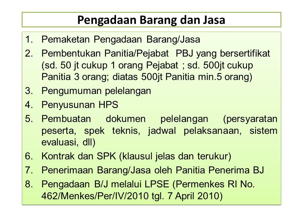 Pengadaan Barang dan Jasa 1.Pemaketan Pengadaan Barang/Jasa 2.Pembentukan Panitia/Pejabat PBJ yang bersertifikat (sd. 50 jt cukup 1 orang Pejabat ; sd