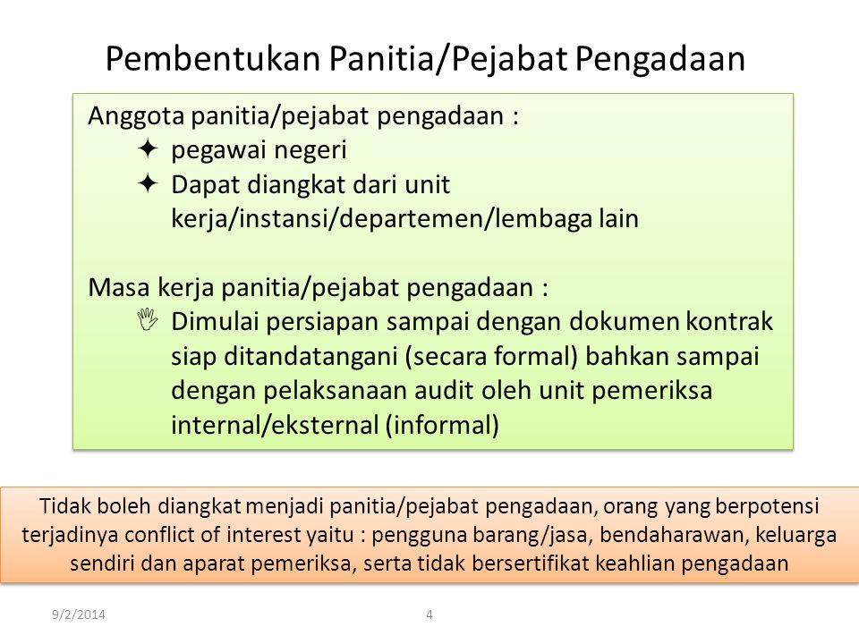 9/2/20144 Pembentukan Panitia/Pejabat Pengadaan Tidak boleh diangkat menjadi panitia/pejabat pengadaan, orang yang berpotensi terjadinya conflict of i