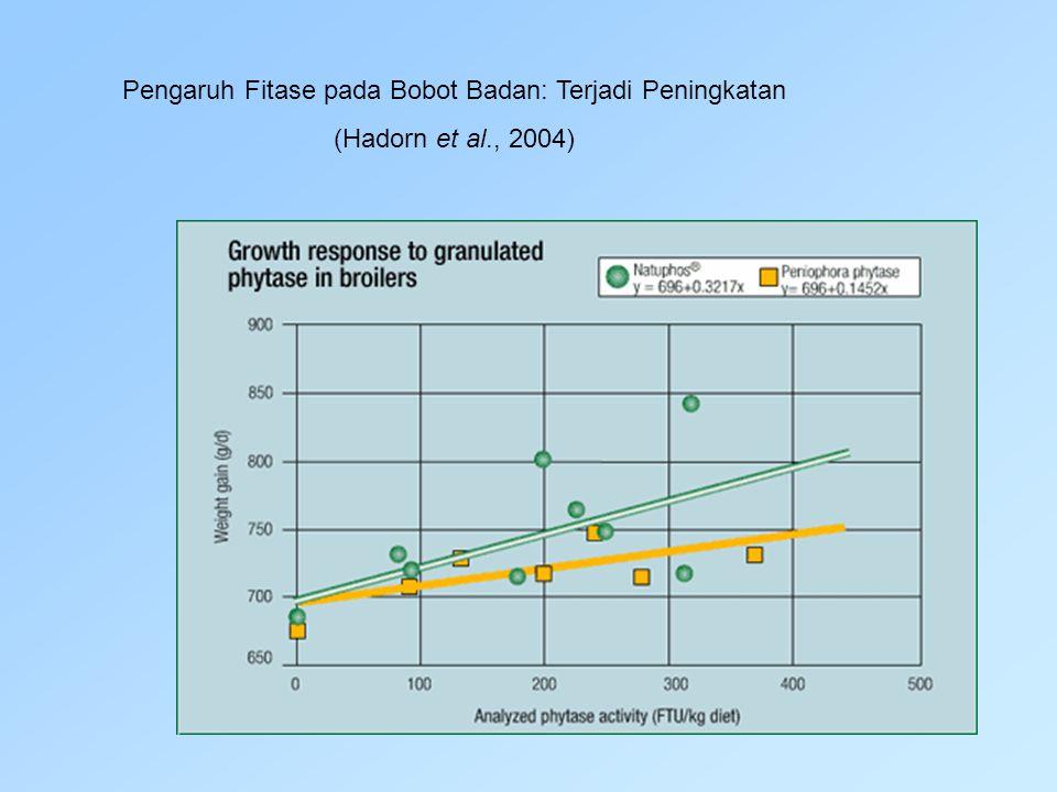 Pengaruh Fitase pada Bobot Badan: Terjadi Peningkatan (Hadorn et al., 2004)