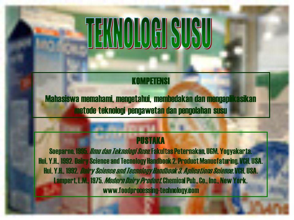 KOMPETENSI Mahasiswa memahami, mengetahui, membedakan dan mengaplikasikan metode teknologi pengawetan dan pengolahan susu PUSTAKA Soeparno, 1995.
