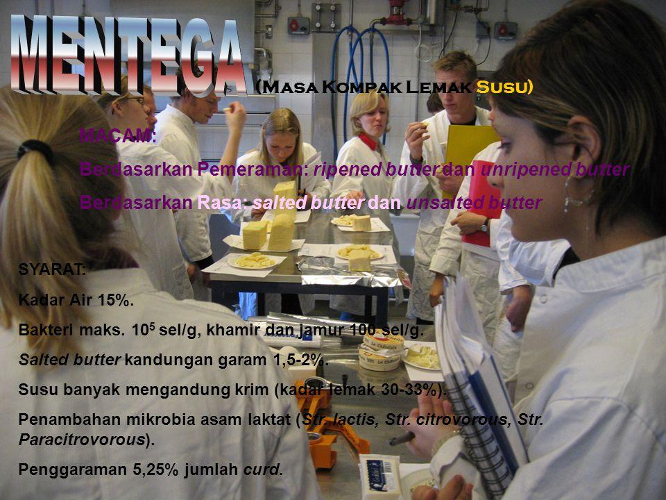 (Masa Kompak Lemak Susu) MACAM: Berdasarkan Pemeraman: ripened butter dan unripened butter Berdasarkan Rasa: salted butter dan unsalted butter SYARAT: Kadar Air 15%.