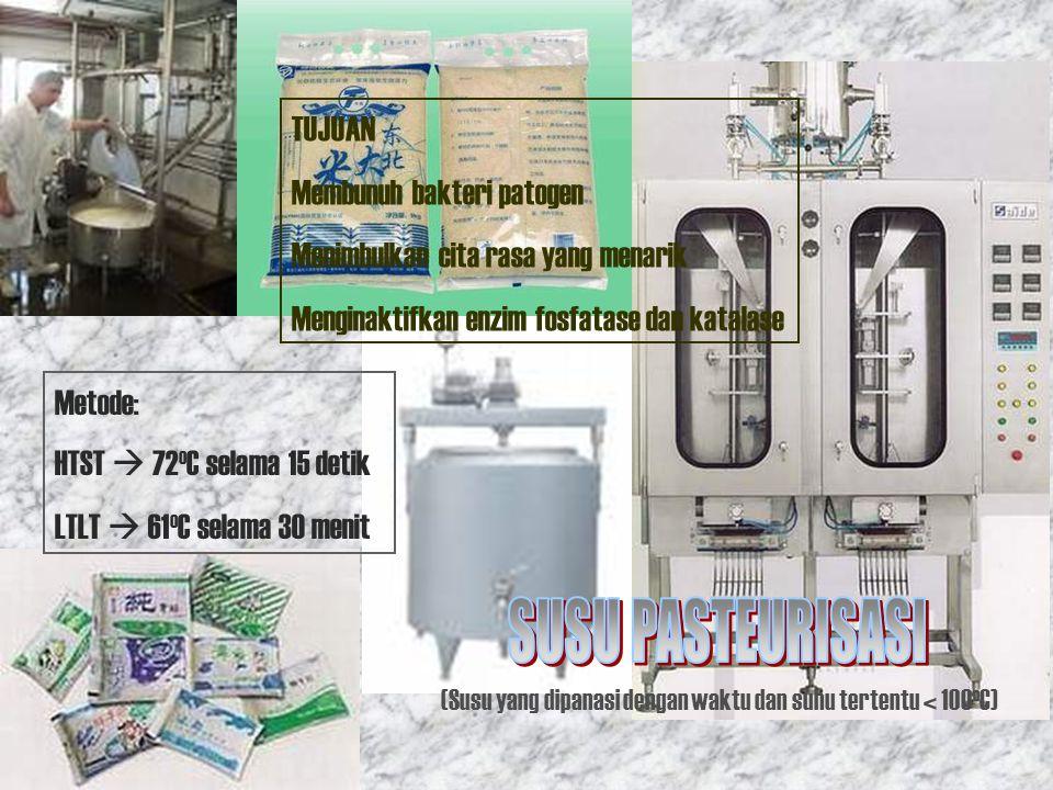 Sterilisasi Alat Pasteurisasi Susu (85-90 o C) Pendinginan Susu 50-55 o C Penyiapan Starter Pencampuran Susu + Starter Masuk dalam botol fermentasi Masuk dalam fermentor  fermentasi Packing + Penyimpanan